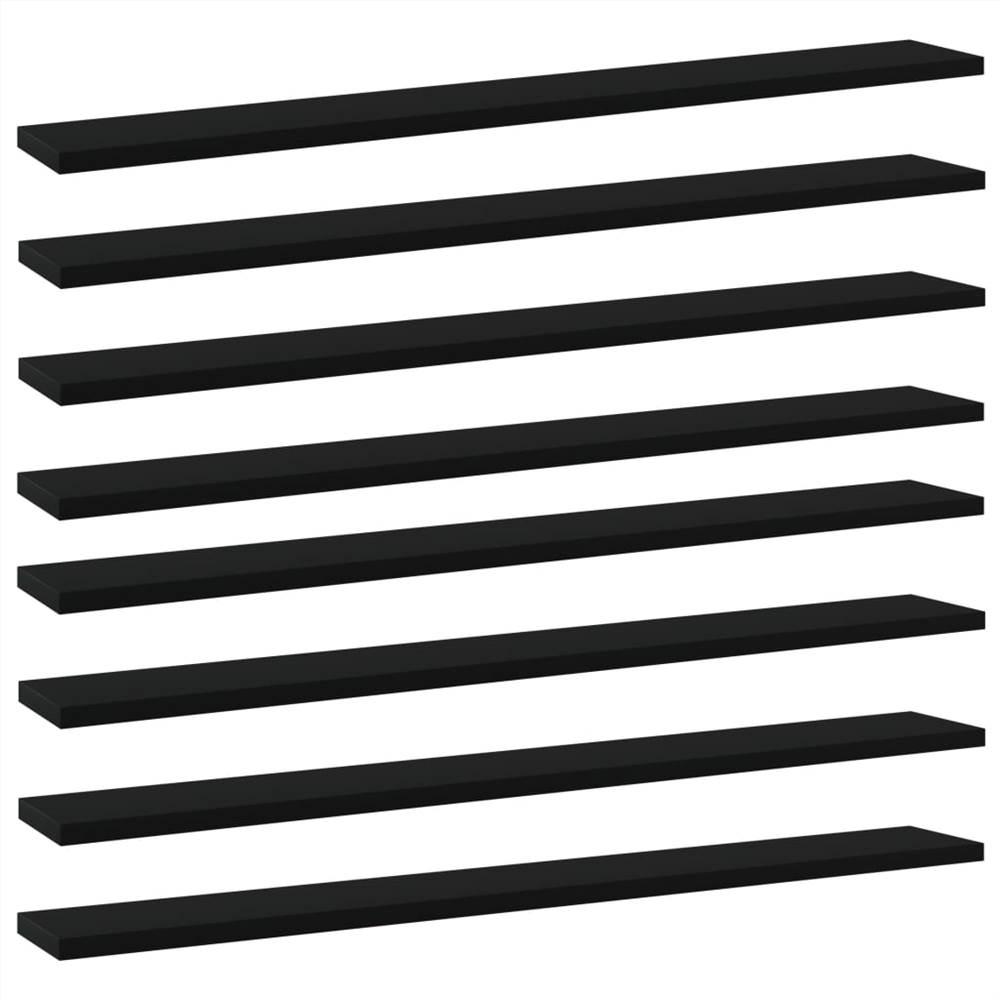 Planches de bibliothèque 8 pcs Noir 80x10x1.5 cm Aggloméré