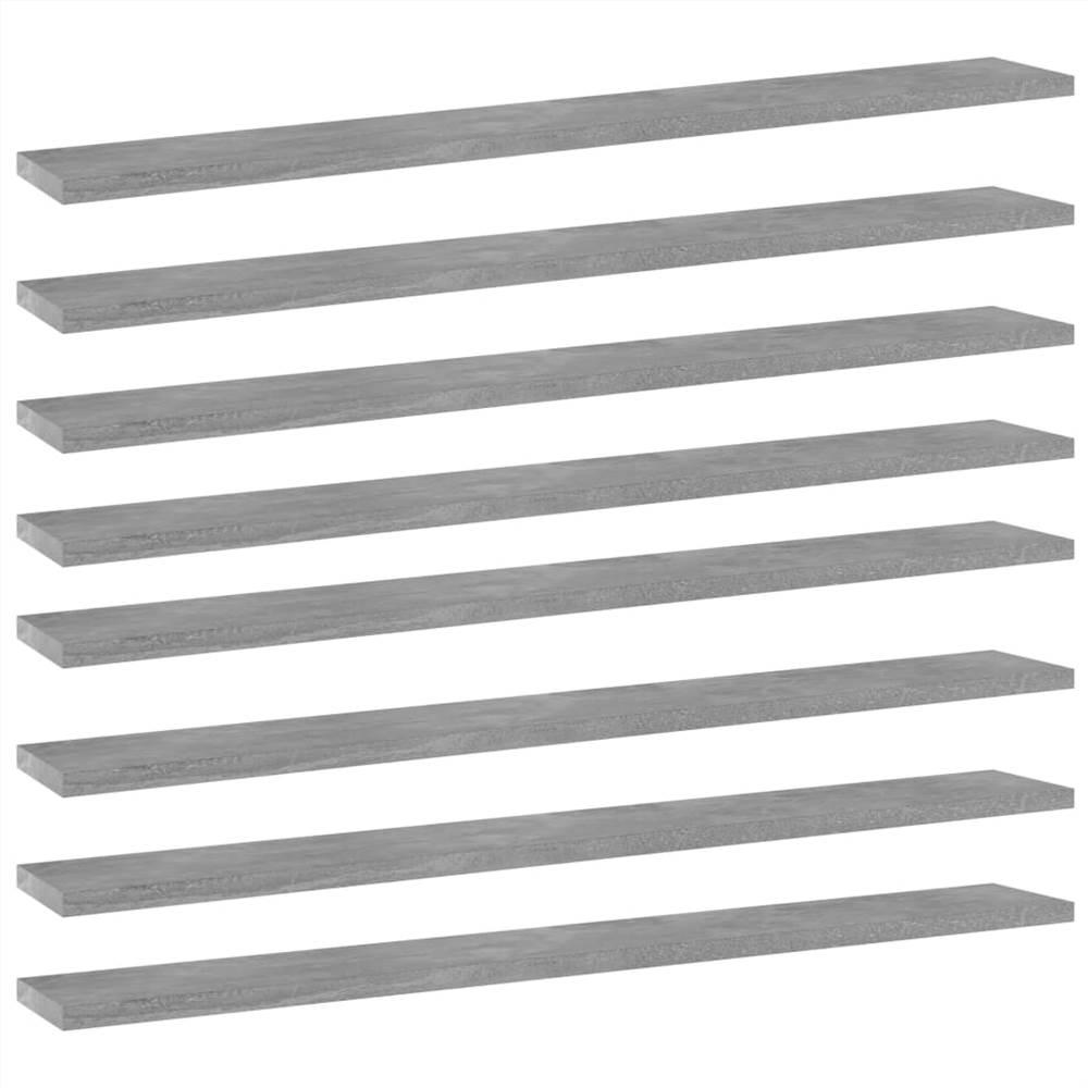 Planches de bibliothèque 8 pièces Gris béton 80x10x1.5 cm Aggloméré