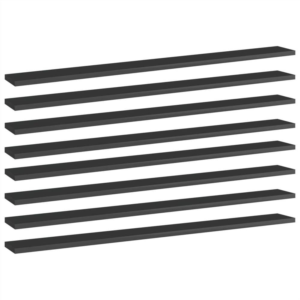 Planches de bibliothèque 8 pcs Noir brillant 100x10x1.5 cm Aggloméré