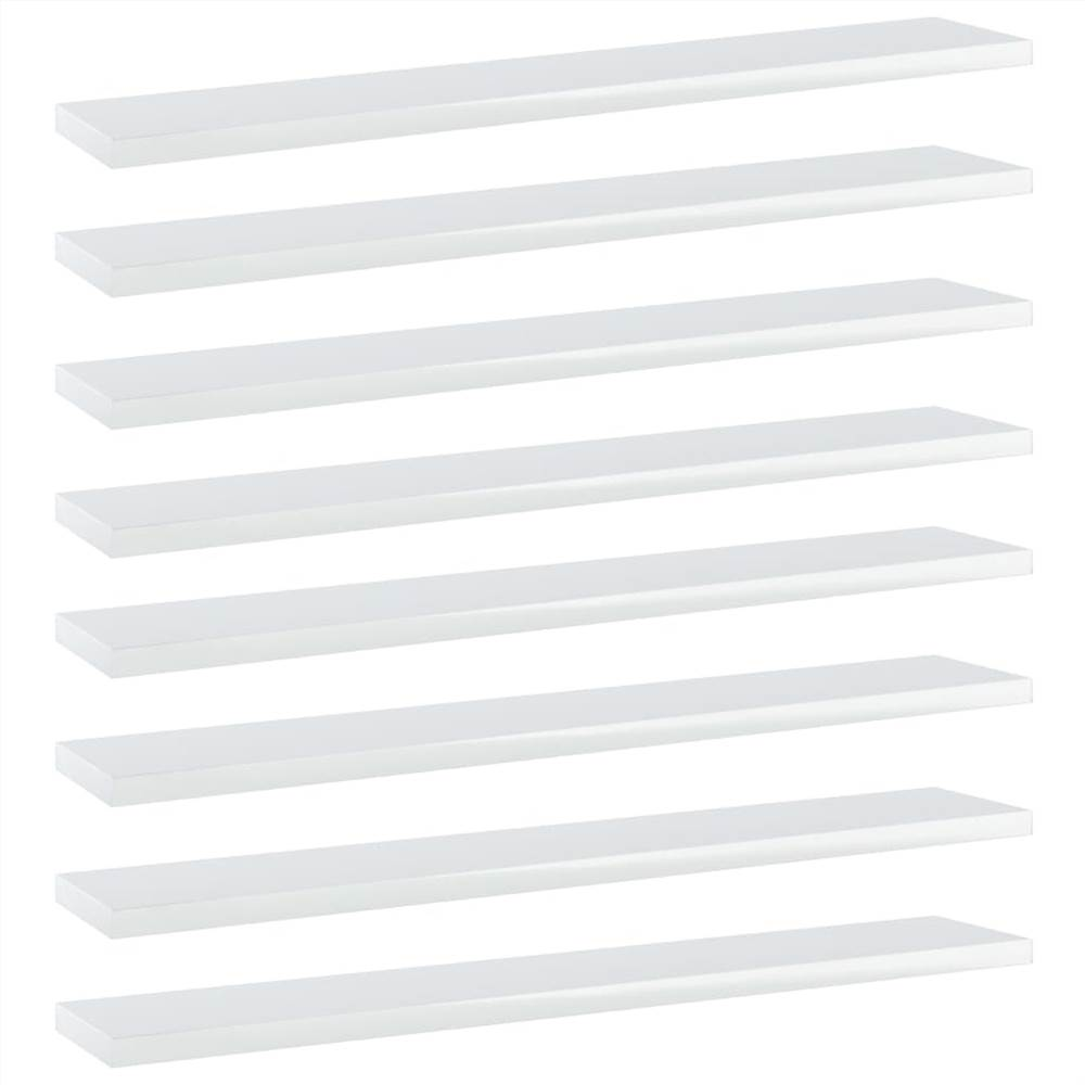 Placas de estante 8 unidades Branco alto brilho 60x10x1.5 cm aglomerado