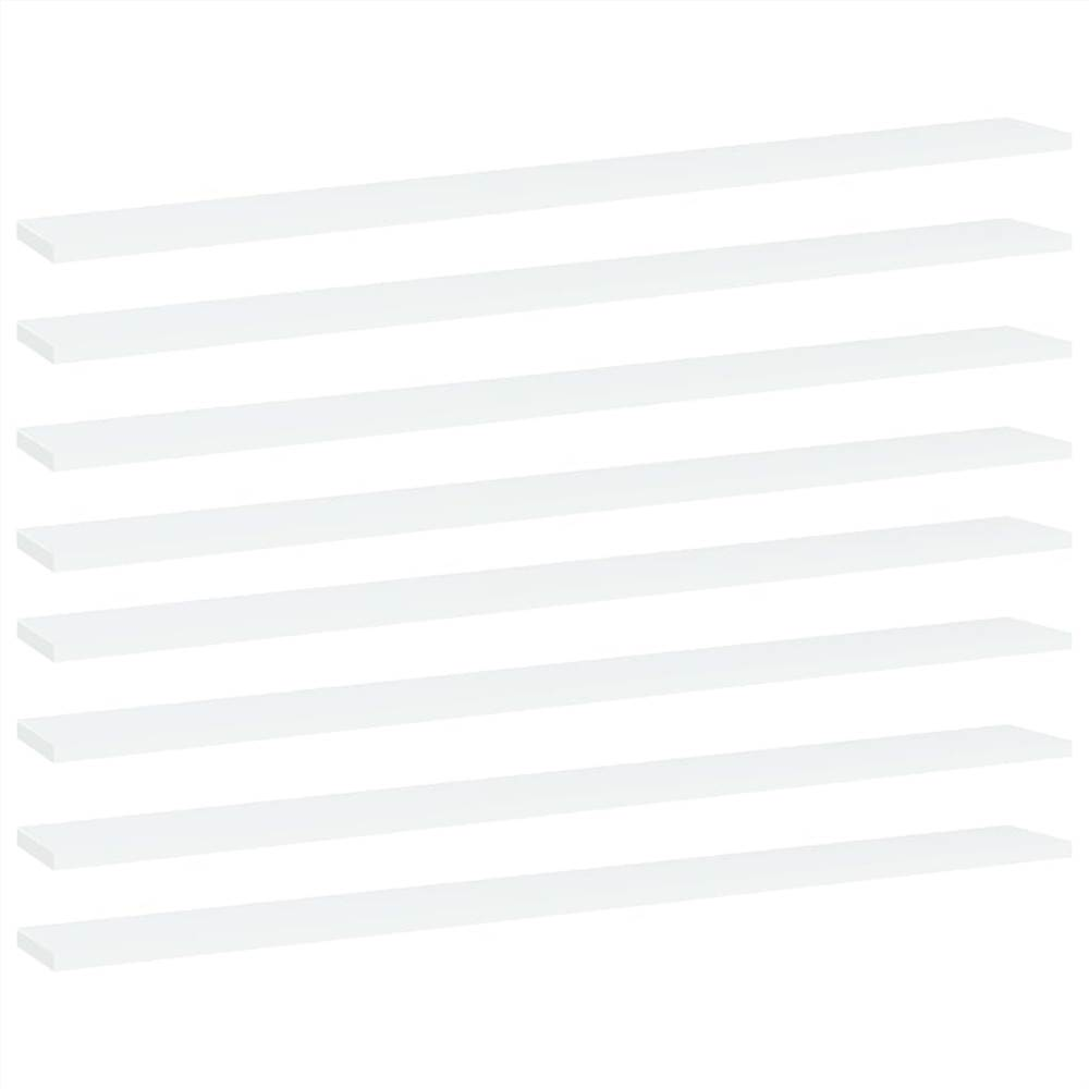 Bookshelf Boards 8 pcs White 100x10x1.5 cm Chipboard