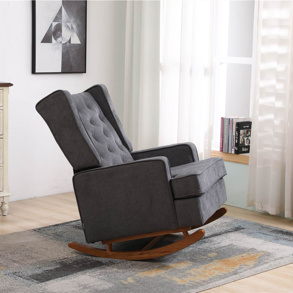 COOLMORE Linen Upholstered Rocking Chair with Rubber Wood Feet and High Backrest for Nursery, Living Room, Apartment - Dark Grey