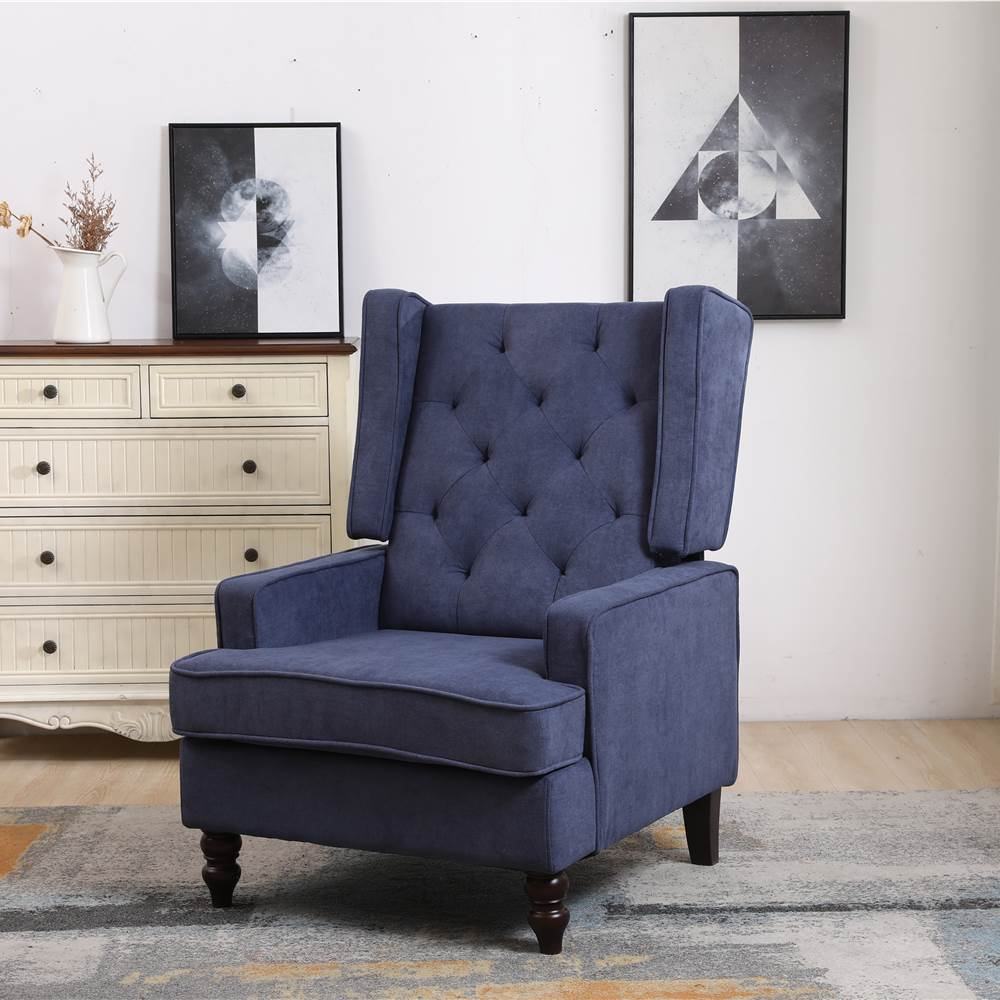 COOLMORE Linen Upholstered Rocking Chair with Rubber Wood Feet and High Backrest for Nursery, Living Room, Apartment - Navy Blue