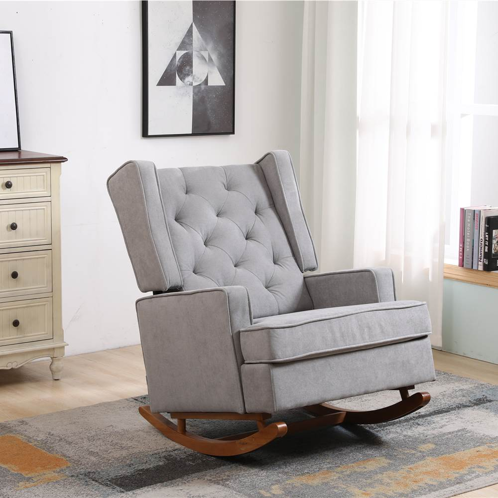 COOLMORE Linen Upholstered Rocking Chair with Rubber Wood Feet and High Backrest for Nursery, Living Room, Apartment - Light Grey