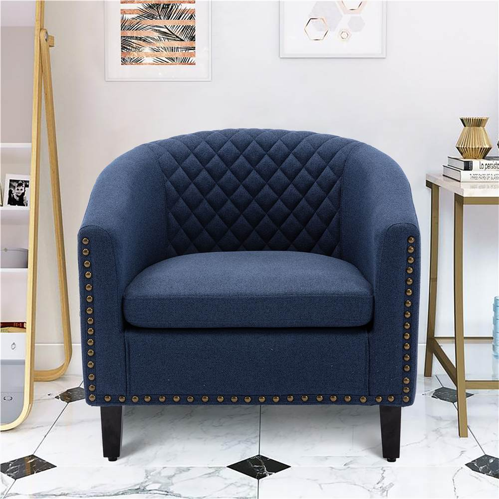 COOLMORE 1-Seat Linen Upholstered Sofa with Ergonomic Backrest and Solid Wood Feet for Living Room, Bedroom, Office, Apartment - Navy