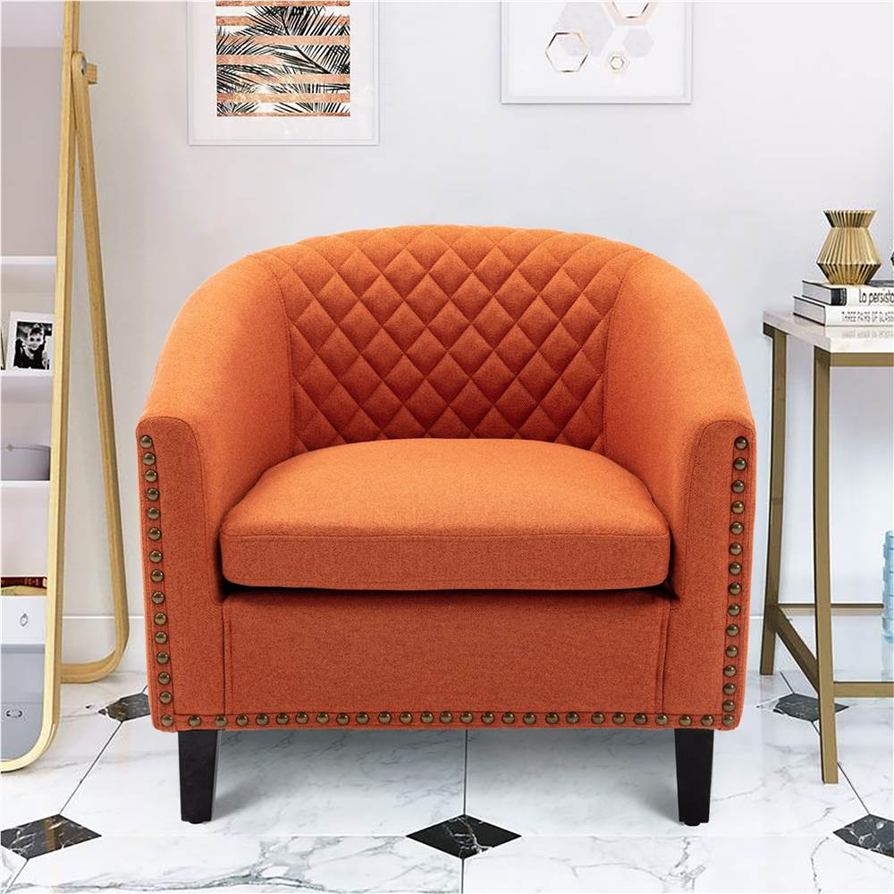 COOLMORE 1-Seat Linen Upholstered Sofa with Ergonomic Backrest and Solid Wood Feet for Living Room, Bedroom, Office, Apartment - Orange