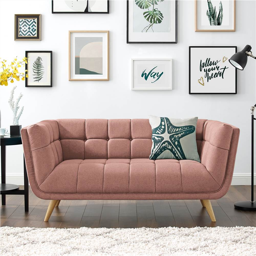 Canapé 2 places rembourré en tissu polyester avec dossier et pieds en chêne pour salon, chambre, bureau, appartement - Rose