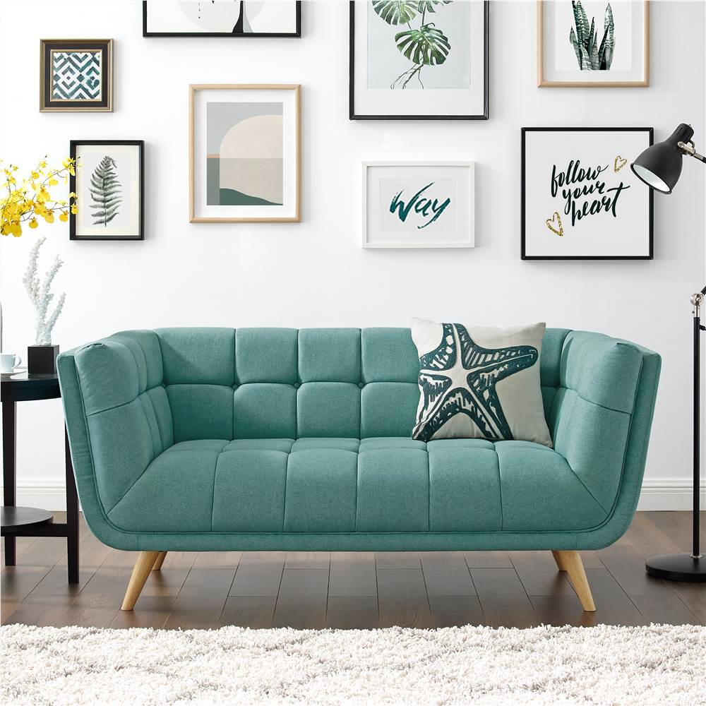 2-Seat Polyester Fabric Upholstered Sofa with Backrest and Oak Feet for Living Room, Bedroom, Office, Apartment - Mint Green
