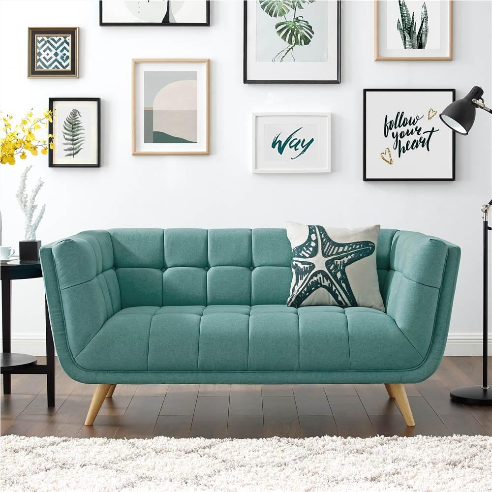 Canapé 2 places rembourré en tissu polyester avec dossier et pieds en chêne pour salon, chambre, bureau, appartement - vert menthe