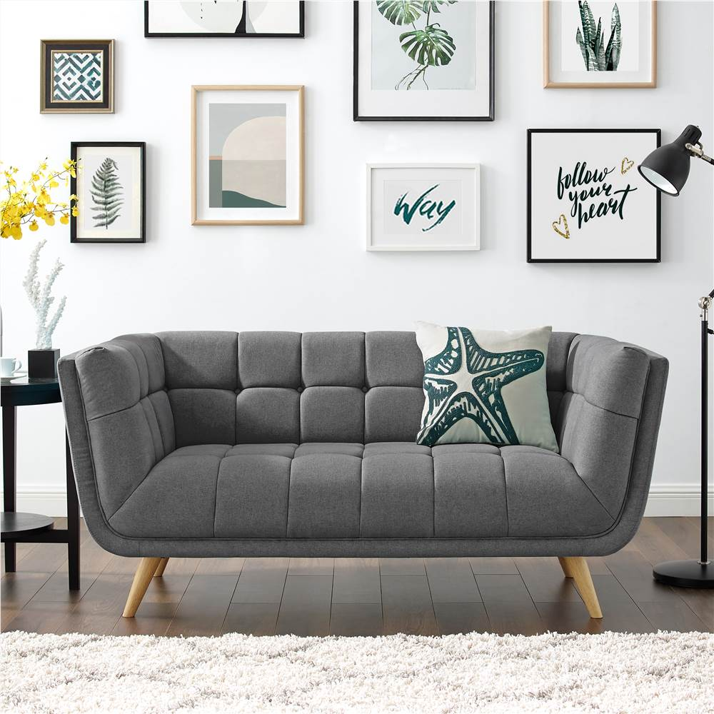Canapé 2 places rembourré en tissu polyester avec dossier et pieds en chêne pour salon, chambre, bureau, appartement - Gris