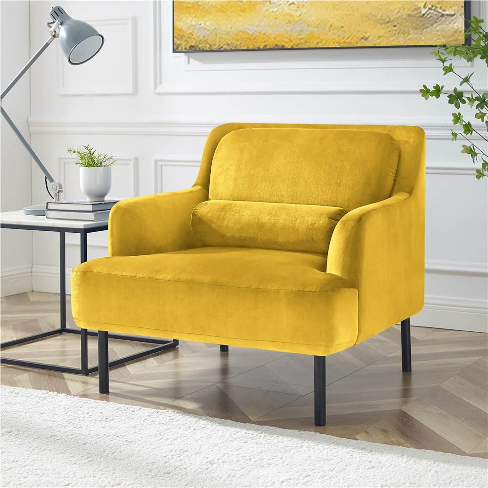 Canapé 1 place rembourré en velours avec dossier ergonomique et pieds en fer haut pour salon, chambre, bureau, appartement - jaune