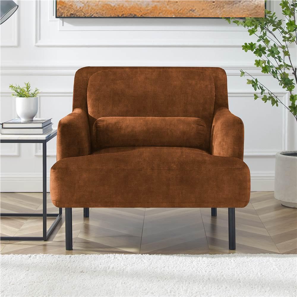 Canapé 1 place rembourré en velours avec dossier ergonomique et pieds en fer haut pour salon, chambre, bureau, appartement - Camel