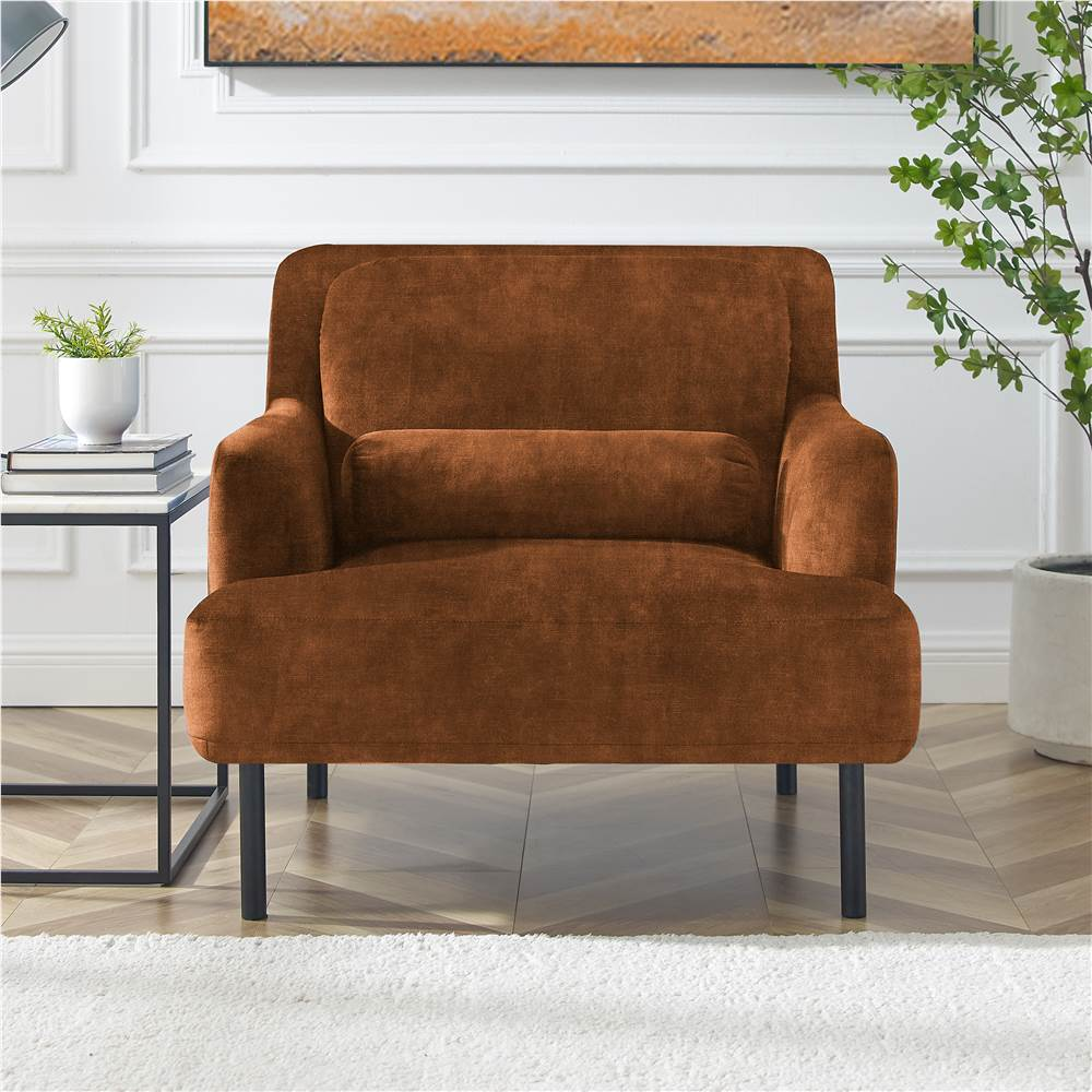 1-Seat Velvet Upholstered Sofa with Ergonomic Backrest and High Iron Feet for Living Room, Bedroom, Office, Apartment - Camel