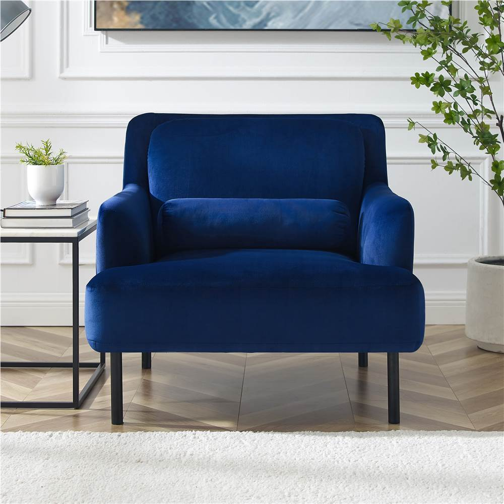 1-Seat Velvet Upholstered Sofa with Ergonomic Backrest and High Iron Feet for Living Room, Bedroom, Office, Apartment - Blue