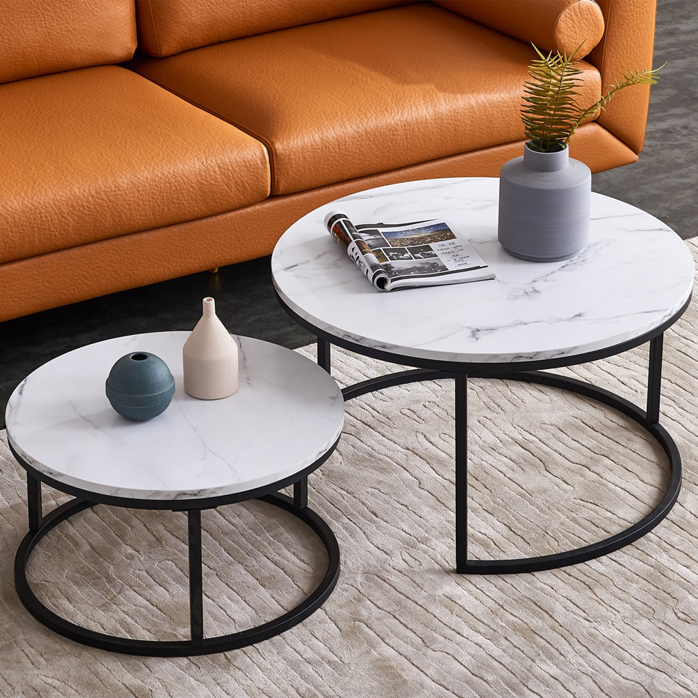 """31.5"""" + 23.5"""" Modern Nesting Coffee Table Set with Imitation Marble Wooden Tabletop and Metal Frame for Living Room, Office, Apartment - Black"""