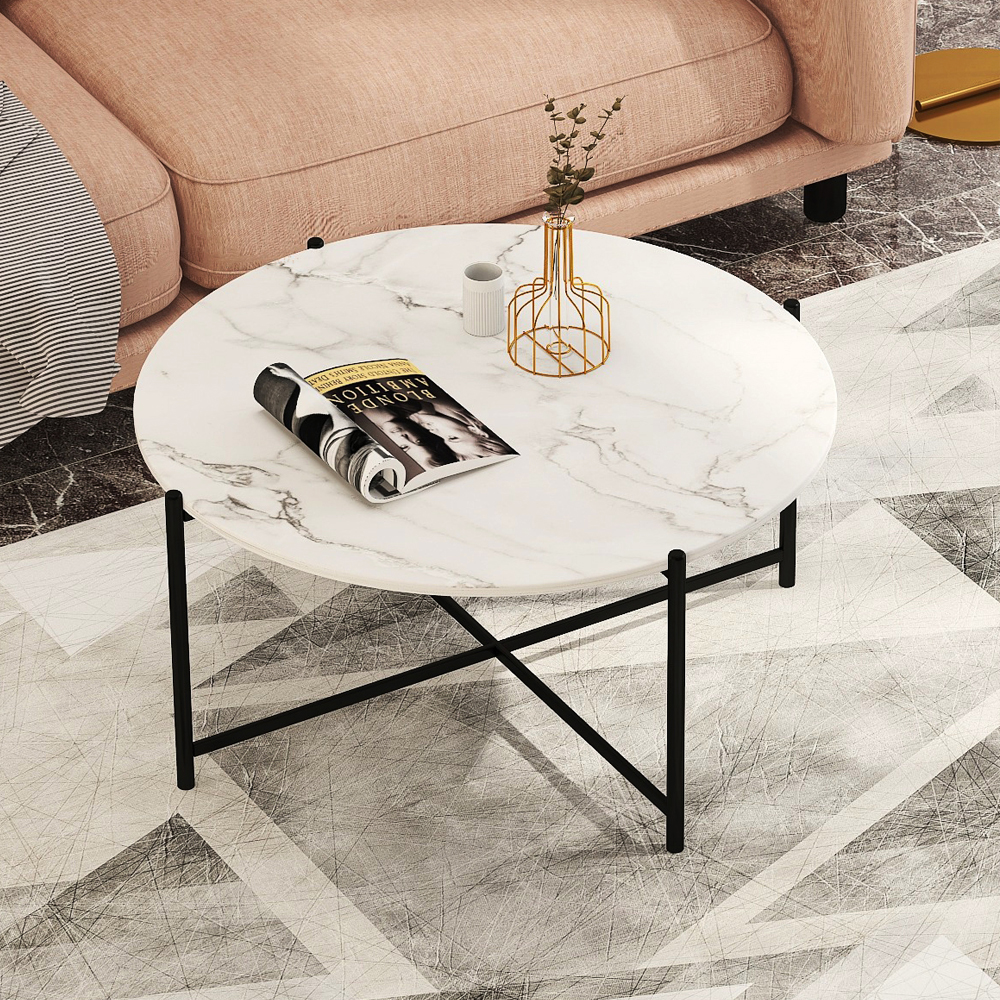 """36"""" Modern Round Coffee Table with Imitation Marble Wooden Tabletop and Metal Frame for Living Room, Office, Apartment, Restaurant - Black"""