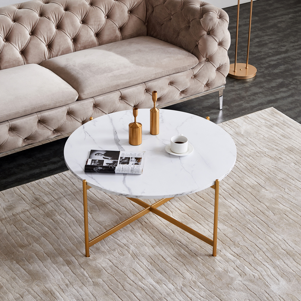 """36"""" Modern Round Coffee Table with Imitation Marble Wooden Tabletop and Metal Frame for Living Room, Office, Apartment, Restaurant - Gold"""