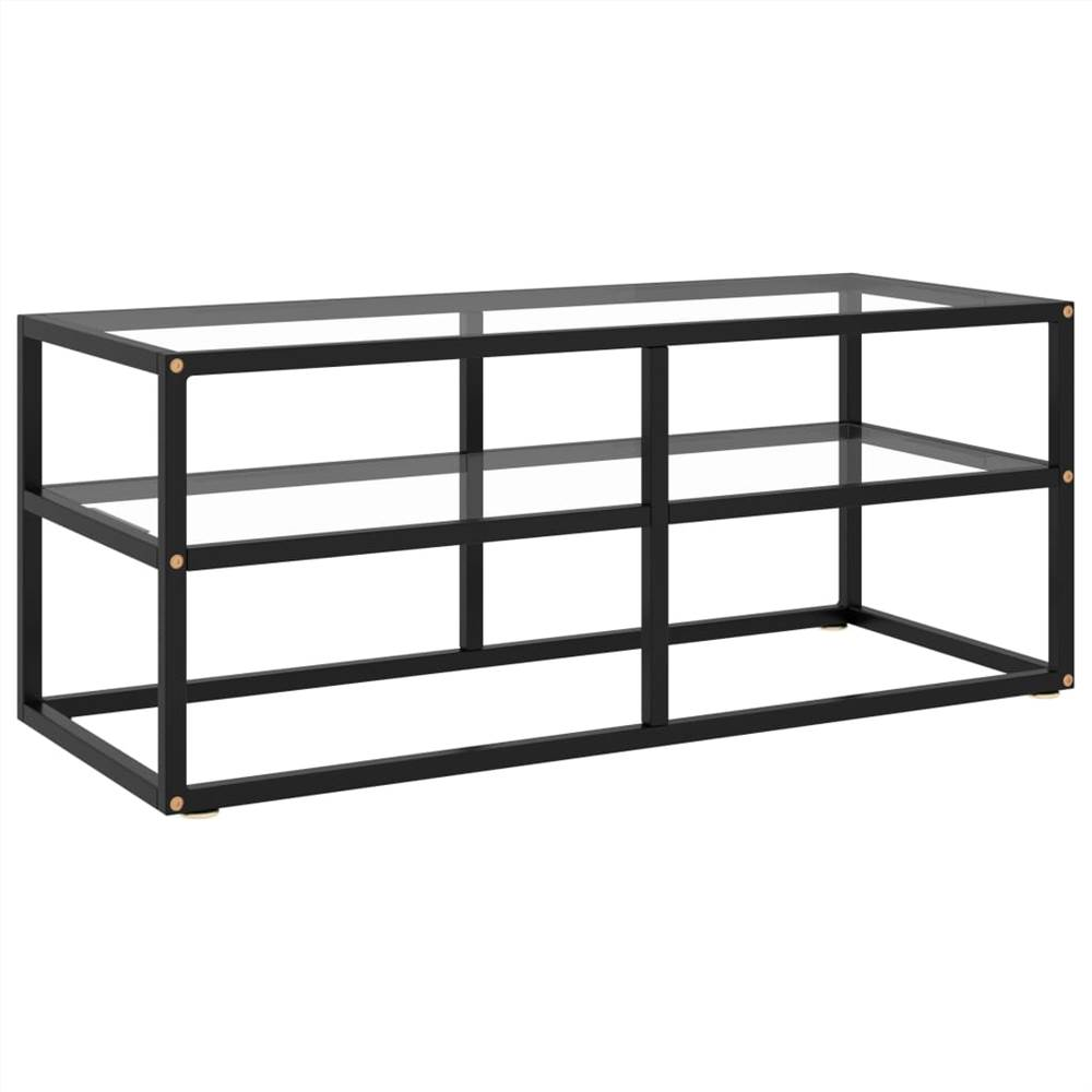 TV Cabinet Black with Tempered Glass 100x40x40 cm