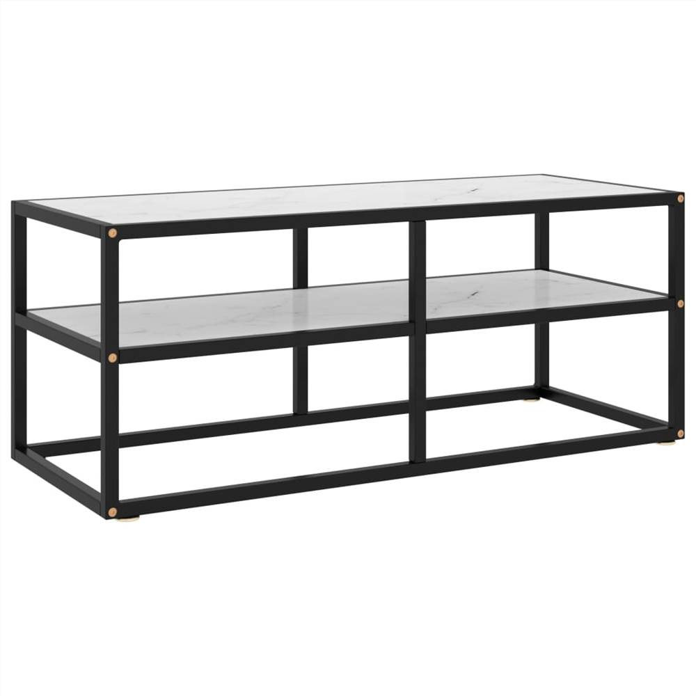 TV Cabinet Black with White Marble Glass 100x40x40 cm