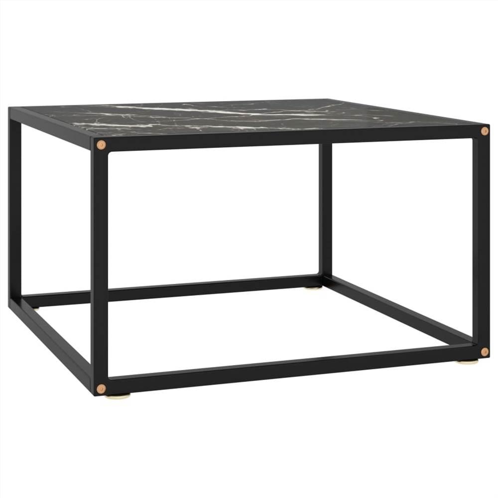 Table à thé noire avec verre marbré noir 60x60x35 cm