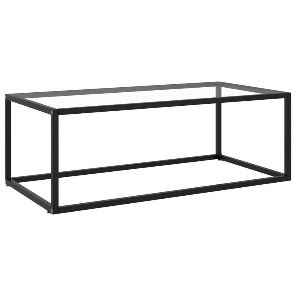 Tea Table Black with Tempered Glass 100x50x35 cm