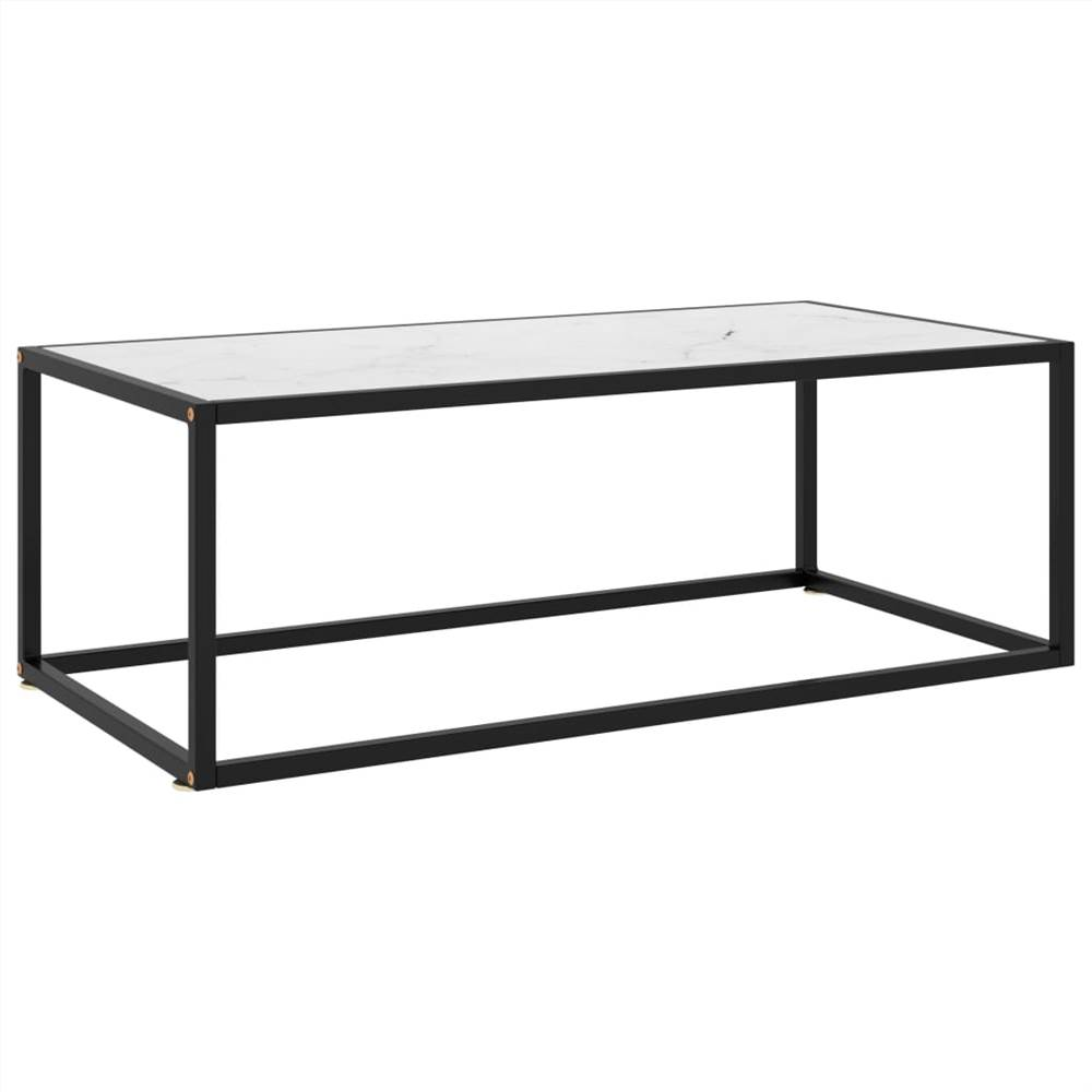Tea Table Black with White Marble Glass 100x50x35 cm