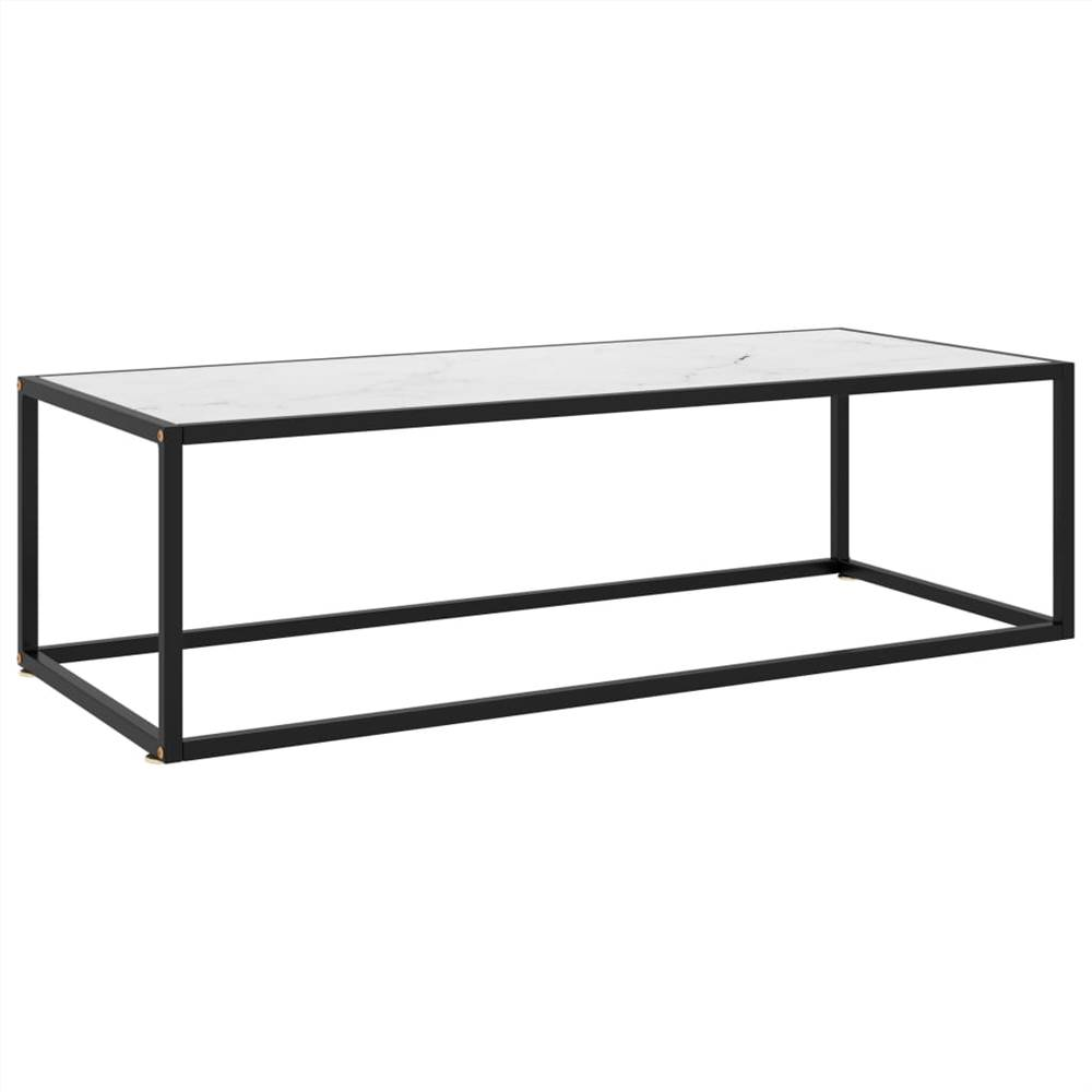 Tea Table Black with White Marble Glass 120x50x35 cm