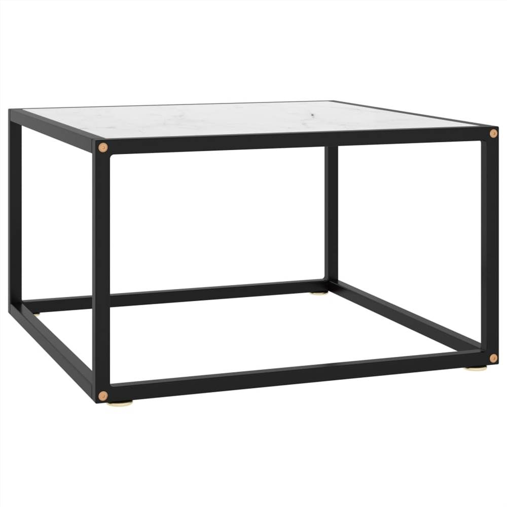 Tea Table Black with White Marble Glass 60x60x35 cm