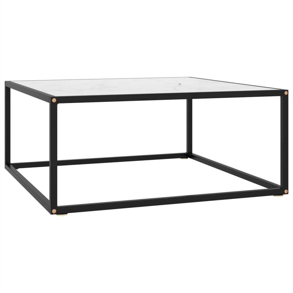 Tea Table Black with White Marble Glass 80x80x35 cm