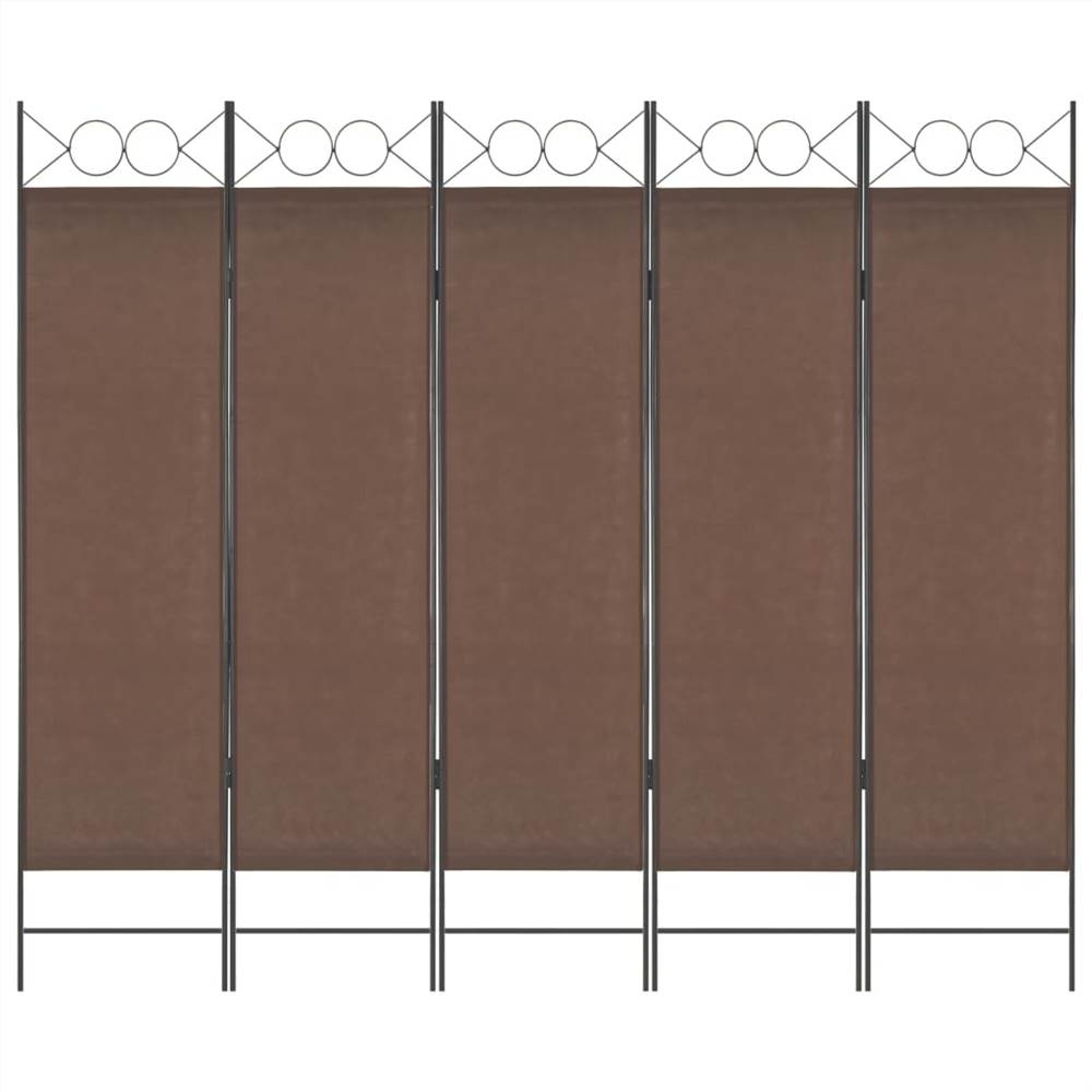 5-Panel Room Divider Brown 200x180 cm
