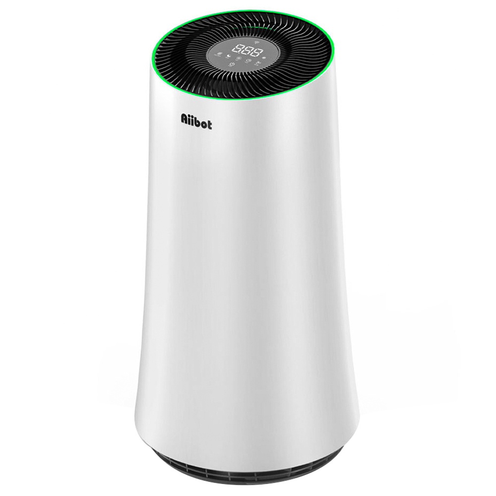 500-ступенчатый фильтр очистителя воздуха Aiibot A4 со светодиодным сенсорным экраном и переключателем режима для вдыхаемых частиц, пыльцы, пыли, бактерий, плесени, формальдегида - белый