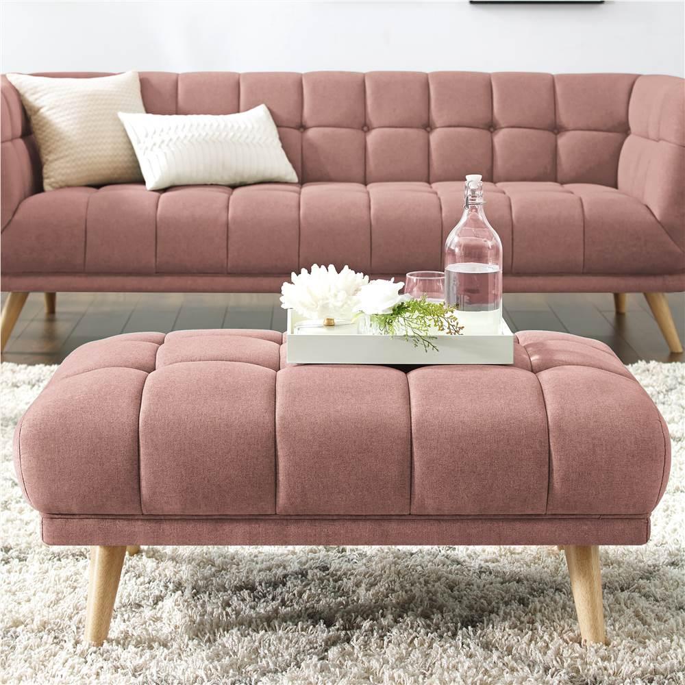 Pouf rembourré en tissu de polyester avec pieds en bois de caoutchouc, pour salon, chambre à coucher, bureau, appartement - rose