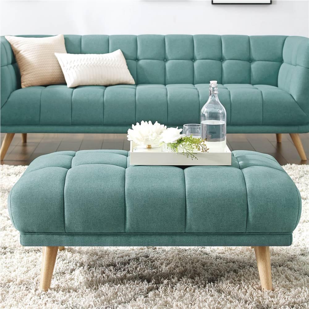 Pouf rembourré en tissu de polyester avec pieds en bois de caoutchouc, pour salon, chambre à coucher, bureau, appartement - vert