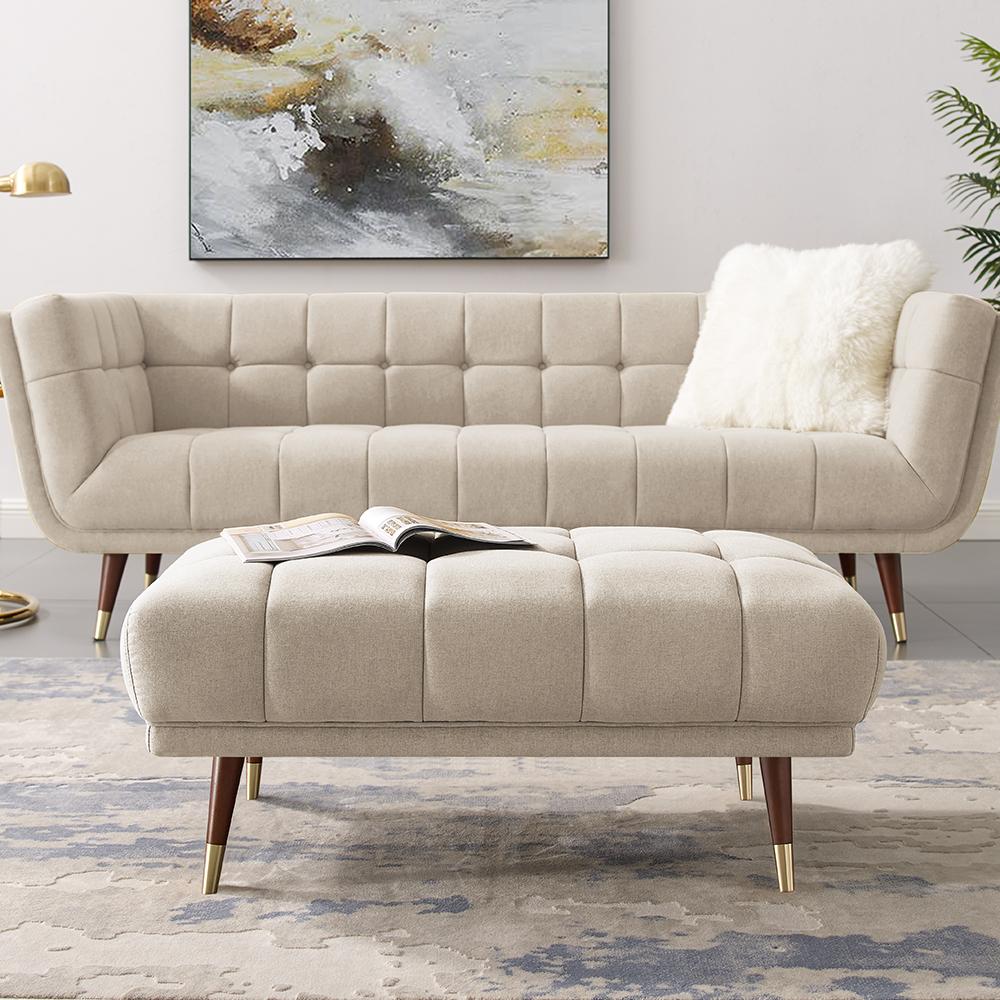 Pouf rembourré en tissu polyester avec pieds en bois en caoutchouc, pour salon, chambre à coucher, bureau, appartement - Beige