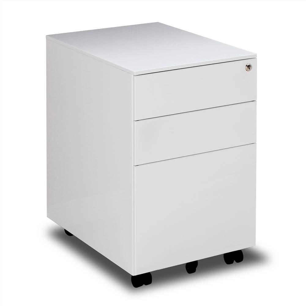 Classeur amovible en métal pour bureau à domicile avec 3 tiroirs et roulettes - Blanc