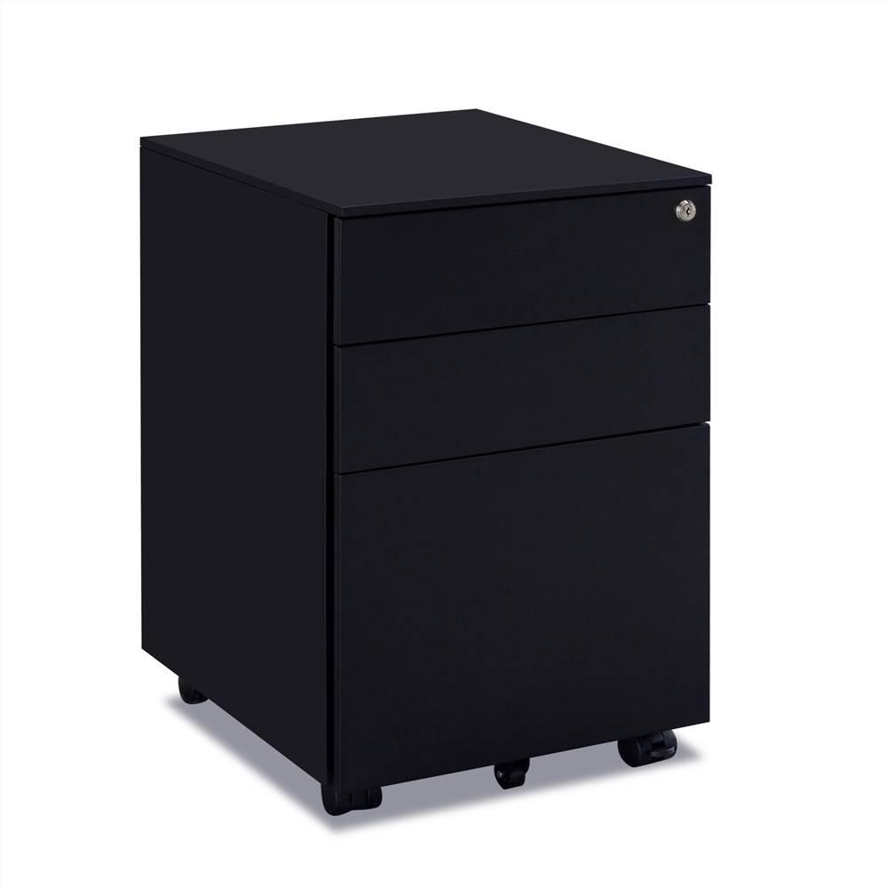 Classeur amovible en métal pour bureau à domicile avec 3 tiroirs et roulettes - Noir