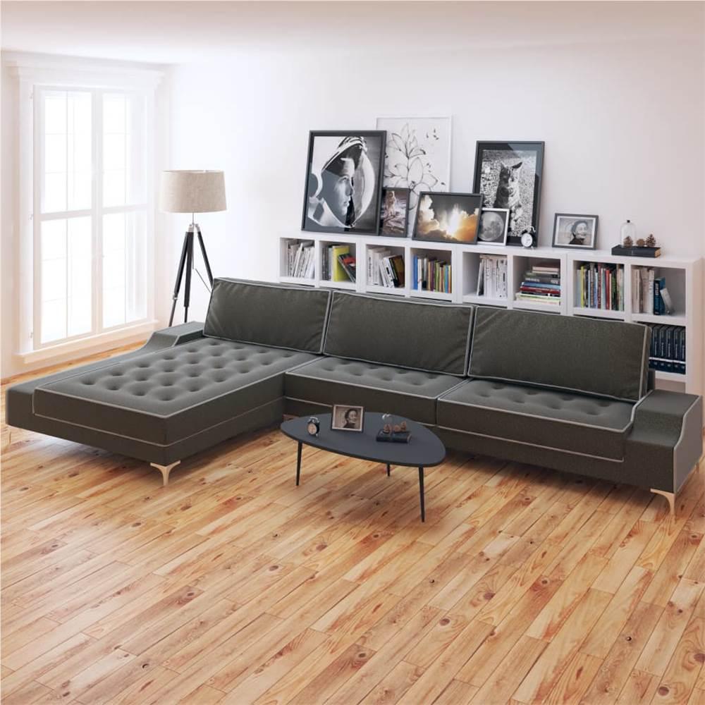 Canapé en L Tissu Gris Foncé XXL 326x163x83 cm