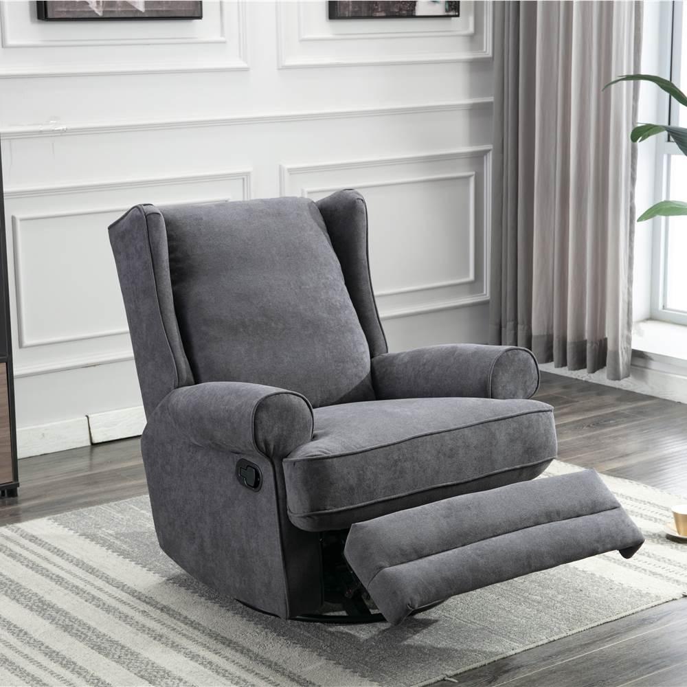 ホームシアター、オフィス、リビングルーム用の背もたれ付きポリエステル繊維布張りスイベルロッカーチェア-グレー