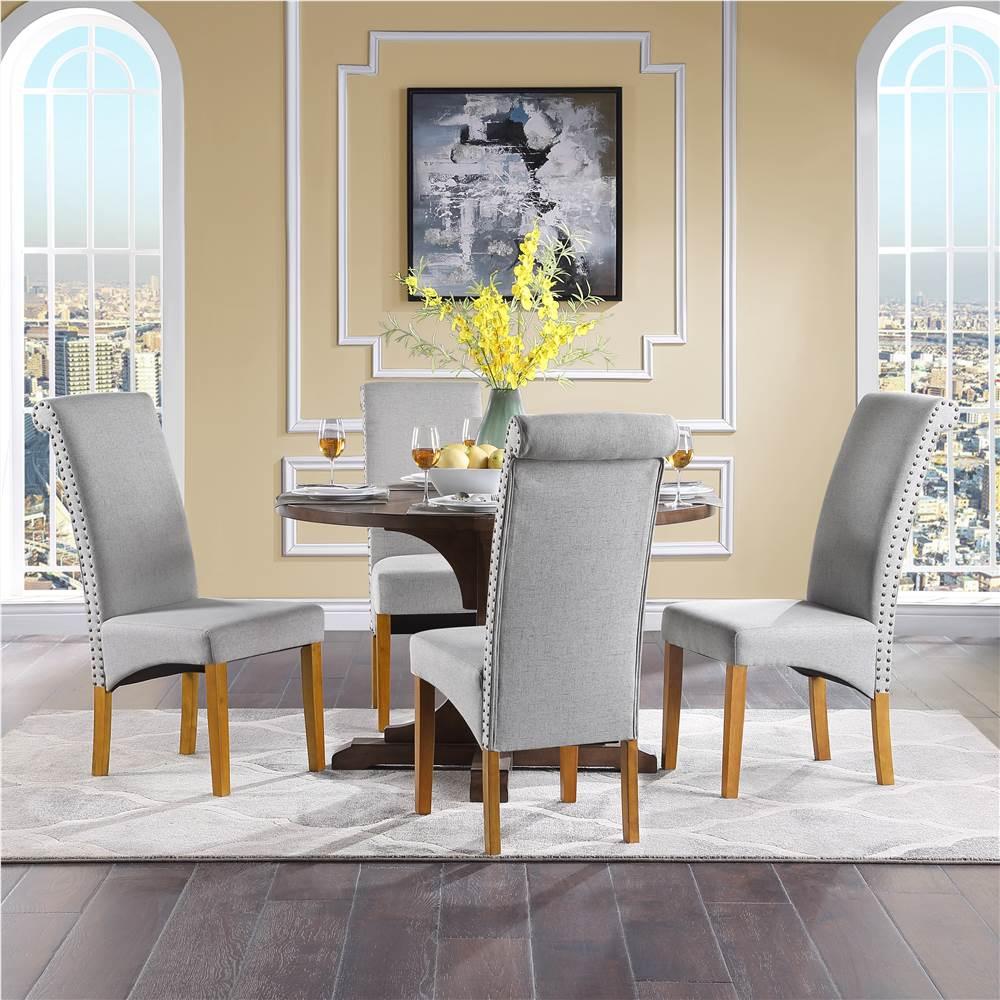 Ensemble de 4 chaises de salle à manger rembourrées en tissu de lin TOPMAX, avec dossier haut et pieds en caoutchouc pour cuisine, salon, café, salle de réception - Gris