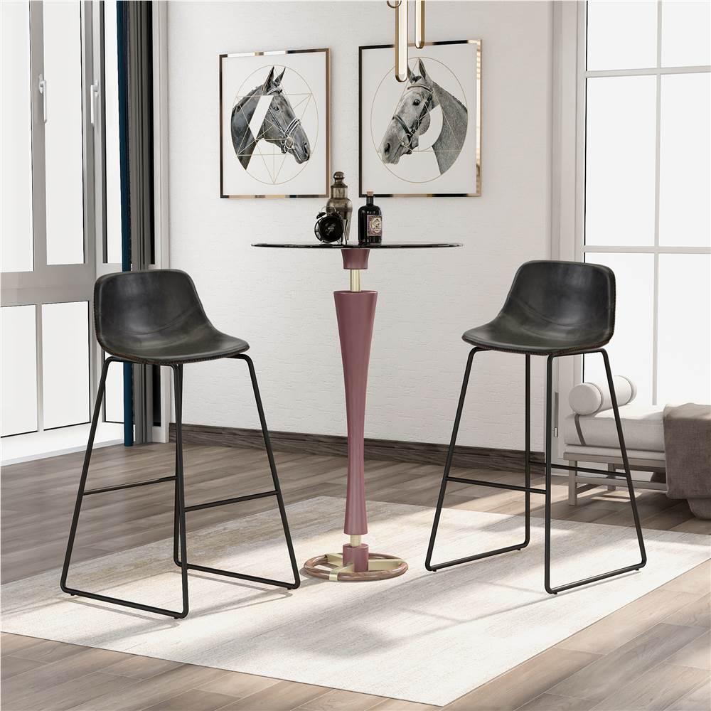 Ensemble de 2 chaises de salle à manger en cuir TREXM, avec dossier bas et repose-pieds pour cuisine, salon, café, salle de réception, bar - Gris