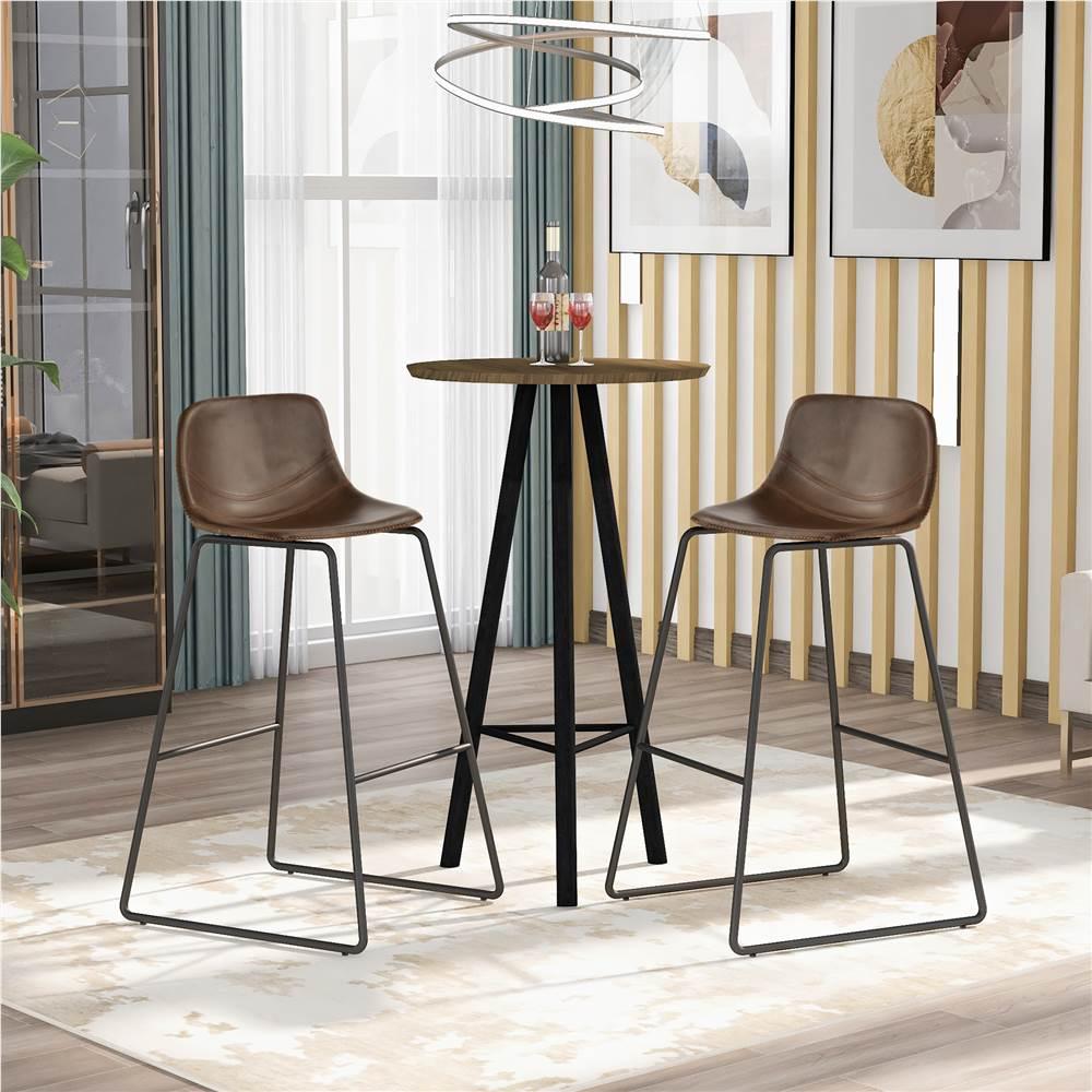 Ensemble de 2 chaises de salle à manger en cuir TREXM, avec dossier bas et repose-pieds pour cuisine, salon, café, salle de réception, bar - Marron