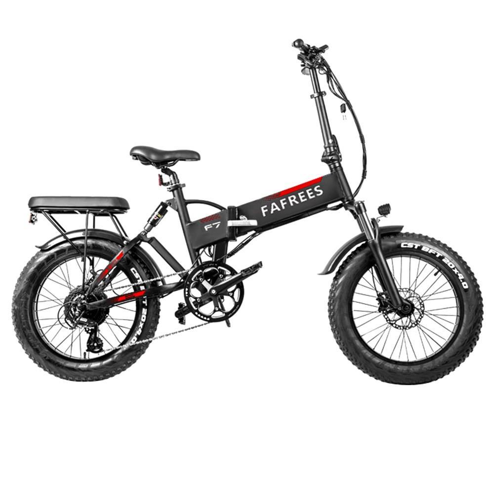 Fafrees F7 Plus 750W CST 20 * 4.0 gros pneu pliant vélo électrique PANASONIC 48V 13.6Ah batterie amovible neige vélo électrique pour adultes suspension complète Shimano 7 vitesses vitesse max 45 km / h cadre en alliage d'aluminium noir
