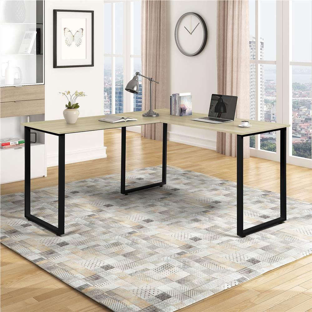 Bureau d'ordinateur en bois d'angle en forme de L pour bureau à domicile avec cadre en métal - noir