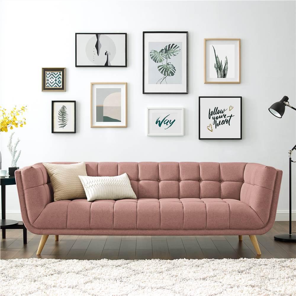 Canapé 3 places rembourré en tissu polyester avec dossier ergonomique et pieds en caoutchouc pour salon, chambre, bureau, appartement - Rose
