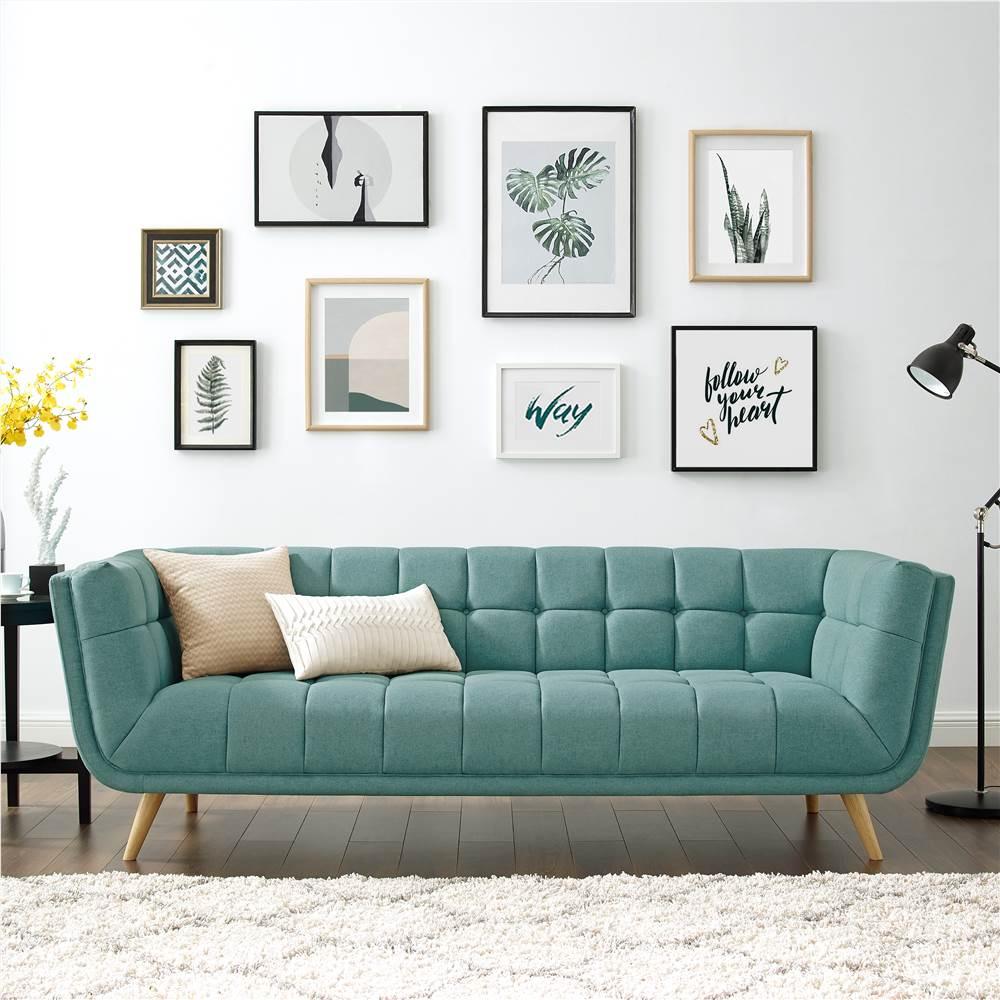 Canapé 3 places rembourré en tissu polyester avec dossier ergonomique et pieds en caoutchouc pour salon, chambre, bureau, appartement - Vert