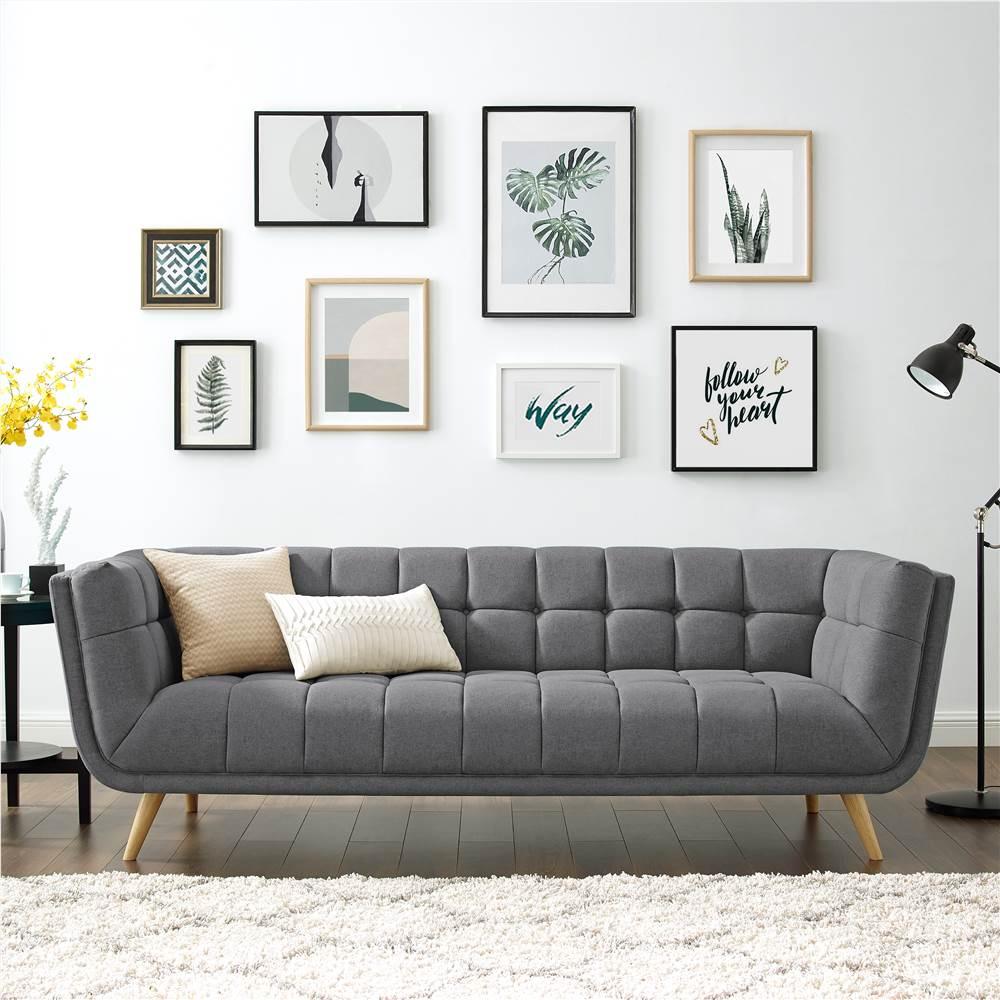 Canapé 3 places rembourré en tissu polyester avec dossier ergonomique et pieds en caoutchouc pour salon, chambre, bureau, appartement - Gris