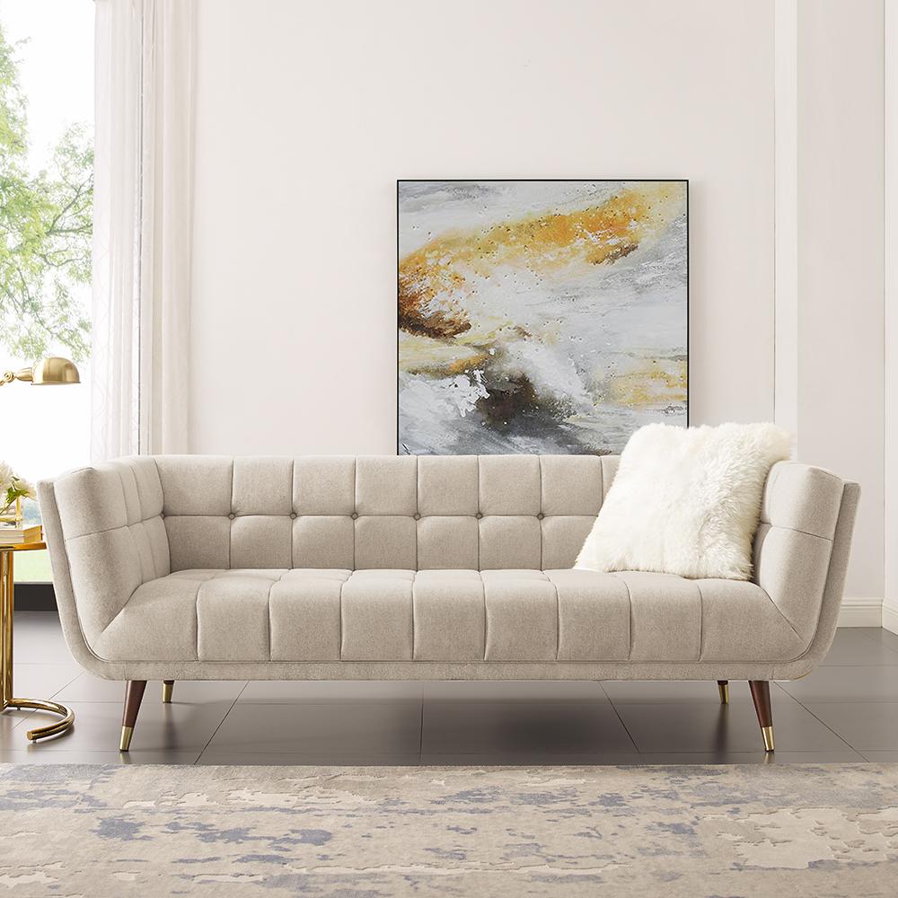 Canapé 3 places rembourré en tissu polyester avec dossier ergonomique et pieds en caoutchouc pour salon, chambre, bureau, appartement - Beige