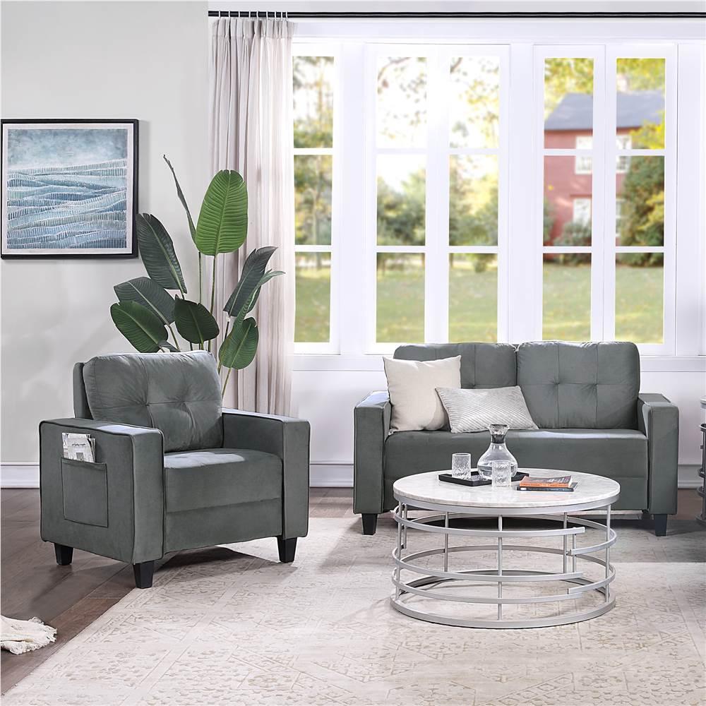 Ensemble de canapé sectionnel rembourré en velours Orisfur 1 + 2 places avec dossier ergonomique et pieds en bois pour salon, chambre à coucher, bureau, appartement - Gris