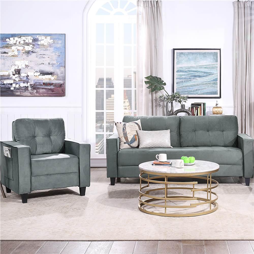 Ensemble de canapé sectionnel rembourré en velours Orisfur 1 + 3 places avec dossier ergonomique et pieds en bois pour salon, chambre à coucher, bureau, appartement - Gris