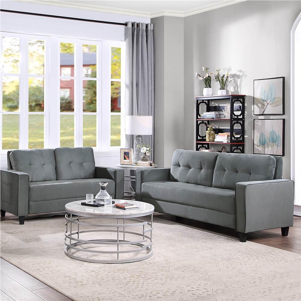 Ensemble de canapé sectionnel rembourré en velours Orisfur 2 + 3 places avec dossier ergonomique et pieds en bois pour salon, chambre à coucher, bureau, appartement - Gris